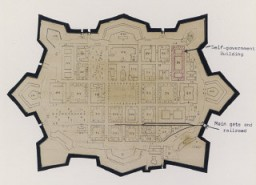 Map of Theresienstadt from an original document (1942-1945) and mounted in an album assembled by a survivor. [LCID: 42024]