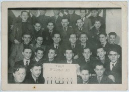 "<p>Jehuda ""Lolek"" Lubinski (seen here in the 4th row, 2nd from left). During his time in the <a href=""/narrative/2152/en"">Lodz</a> ghetto, Lolek kept a <a href=""/narrative/11517/en"">diary</a> in which he described events of the day as well as his hopes and despairs.</p>"