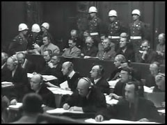 <p>The International Military Tribunal defendants in the dock at Nuremberg.</p>