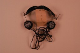 <p>Headphones used by defendant Hans Frank during the International Military Tribunal. Headphones like these enabled trial participants to hear simultaneous translation of the proceedings.</p>