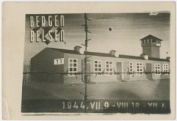 "<p>Commemorative postcard with a drawing of barrack 11 of <a href=""/narrative/4549"">Bergen-Belsen</a> and marking the time the people on the <a href=""/narrative/11729"">Kasztner</a> train spent in the camp. The Jews from the Kasztner transport lived in two barracks, 10 and 11, inside Bergen-Belsen. (This was probably drawn by the Hungarian artist Robert (Imre) Irsay who himself was on the Kasztner transport.)</p>"