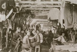 <p>Crowded living conditions: prisoners inside a barracks at Gurs detention camp. France, probably 1940.</p>