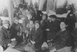 "<p>Jews from Macedonia who were rounded up and assembled in the Tobacco Monopoly transit camp before deportation to the <a href=""/narrative/3819"">Treblinka killing center</a>. Skopje, <a href=""/narrative/6153"">Yugoslavia</a>, March 1943.</p>