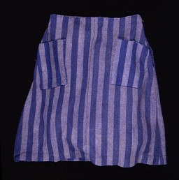 <p>Hana Mueller altered this skirt issued to her in the Auschwitz concentration camp in 1944 by using the hem to make pockets.</p>