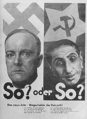 """<p>Nazi propaganda poster warning Germans about the dangers of east European """"subhumans."""" Germany, date uncertain.</p>"""