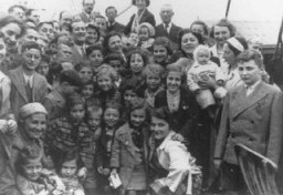 "<p>Passengers aboard the <em>St. Louis</em>. These refugees from Nazi Germany were forced to return to Europe after both <a href=""/narrative/10734"">Cuba</a> and the <a href=""/narrative/3486"">United States</a> denied them refuge. May or June 1939.</p>"