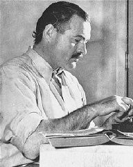"<p>Ernest Hemingway, among the greatest American novelists, was a member of the ""Lost Generation"" of expatriate writers who were disillusioned by war. In 1933 the Nazis burned Hemingway's novels as part of the public <a href=""/narrative/7631/en"">book burning</a> in Berlin. United States, ca. 1950.</p>"