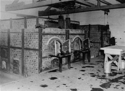 <p>The crematoria at Dachau concentration camp, soon after the liberation of the camp. Germany, after April 29, 1945.</p>