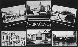 <p>Postcard depicting sights in Munkacs, Czechoslovakia. 1938.</p>