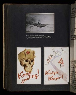 "<p>(Top) A drawing dated October 1942 depicting the events of August 28 when Beifeld was wounded near the front lines. His caption reads: ""I get wounded and manage to get away from the dangerous bend in the [Don] river]."" (Bottom left) Skull of a Soviet soldier with the caption 'Keep Smiling.' (Bottom right) Map entitled 'Dangerous Curve' depicting the bend in the Don River where the Soviet army was threatening to break through. [Photograph # 58061]</p>"