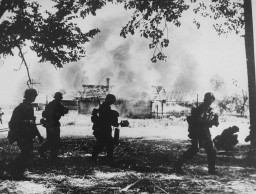 <p>German troops view the burning of a village in the Rogachyevo district of Gomel, Belarus, 1941.</p>