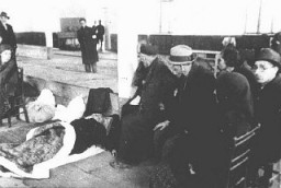"<p>Jews from Bulgarian-occupied Macedonia interned at the ""Monopol"" tobacco factory, used as a transit camp, before deportation to the Treblinka killing center. Skopje, Yugoslavia, March 1943.</p>"