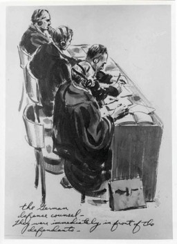 "<p>Courtroom sketch drawn during the International Military Tribunal by American artist Edward Vebell. The drawing's title is ""German defense counsel -- they are immediately in front of the defendants."" 1945.</p>"