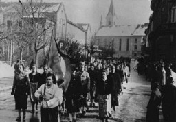 <p>A parade of young Austrian women, members of the Nazi youth organization the League of German Girls (Bund Deutscher Maedel). Graz, Austria, February 20, 1938.</p>