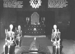 "<p>An antisemitic and anti-Masonic display at the exhibition ""Der ewige Jude"" (The Eternal Jew). The exhibition sought to establish a connection between Jews and <a href=""/narrative/10188"">Freemasons</a>. Munich, Germany, November 10, 1937.</p>"