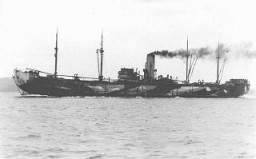 """<p>The <em>Donau</em>, one of the largest ships used to deport Jews from <a href=""""/narrative/6313/en"""">Norway</a> to Germany. From Germany, hundreds of Norwegian Jews were deported to <a href=""""/narrative/3673/en"""">Auschwitz</a>. Norway, 1943.</p>"""