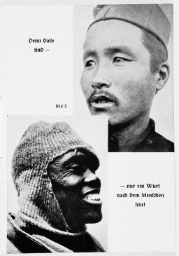 "<p>Nazi propaganda depicting two racial portraits of individuals considered <a href=""/narrative/3508"">non-Aryan</a>. The original caption reads: ""Then these are barely recognizable as human beings."" Circa 1933–1943.</p>"