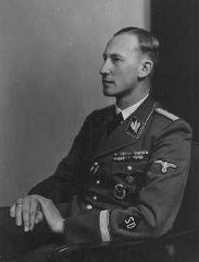 "<p><a href=""/narrative/10812/en"">Reinhard Heydrich</a>, chief of the SD (Security Service) and Nazi governor of <a href=""/narrative/10723/en"">Bohemia and Moravia</a>. Place uncertain, 1942.</p>"