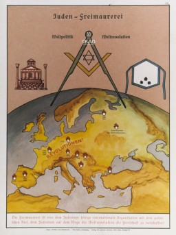 "<p>Eugenics poster entitled ""The relationship between Jews and Freemasons."" The text at the top reads: ""World politics World revolution."" The text at the bottom reads, ""Freemasonry is an international organization beholden to Jewry with the political goal of establishing Jewish domination through world-wide revolution."" The map, decorated with Masonic symbols (temple, square, and apron), shows where revolutions took place in Europe from the French Revolution in 1789 through the German Revolution in 1919. This poster is no. 64 in a series entitled <em>Erblehre und Rassenkunde</em> (Theory of Inheritance and Racial Hygiene), published by the Verlag fuer nationale Literatur (Publisher for National Literature), Stuttgart, Germany, ca. 1935.</p>"