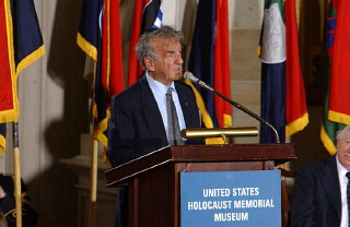 Elie Wiesel speaks at the Days of Remembrance ceremony, Washington, DC, 2002.