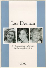 Cover of a memorial booklet for Lisa (Lisa Derman: An Extraordinary Woman, An Extraordinary Life, published by Louis Weber Publications ...