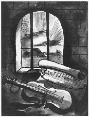 1943 still life of a violin and sheet of music behind prison bars by Bedrich Fritta