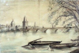 Painting of the Vltava River in Prague by Theresienstadt prisoner Bedrich Fritta