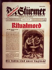 Front page of the most popular issue ever of the Nazi publication, Der Stürmer, with a reprint of a medieval depiction of a purported ...