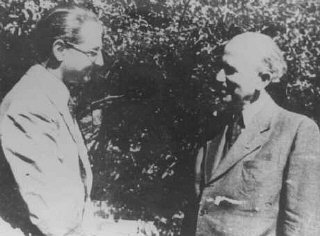 Hungarian Zionist leaders Otto Komoly and Rezso Kasztner (left), who negotiated with the SS for the release of Jews from Hungary.