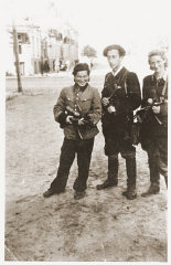 Jewish partisans Rozka Korczak (left), Abba Kovner, and Vitka Kempner in Vilna after the city was liberated.