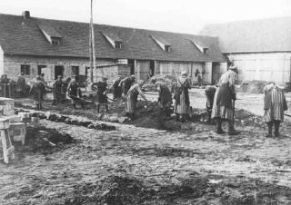 Inmates at forced labor in the Ravensbrück concentration camp.