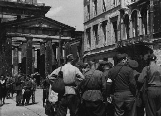 Soviet soldiers in the Soviet occupation zone of Berlin following the defeat of Nazi Germany.