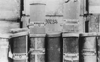 Containers of Zyklon B poison gas pellets found at the Majdanek camp after liberation.