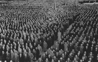 Roll call in Buchenwald for new prisoners after Kristallnacht
