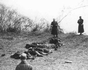 Arrow Cross Party members execute Jews along the banks of the Danube River.