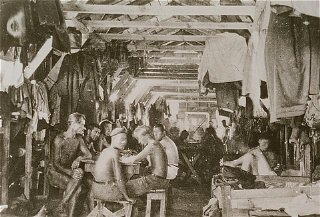 Crowded living conditions: prisoners inside a barracks at Gurs detention camp.
