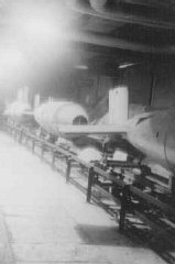 Assembly line where slave laborers manufactured V-bombs at the Dora-Mittelbau concentration camp, near Nordhausen.