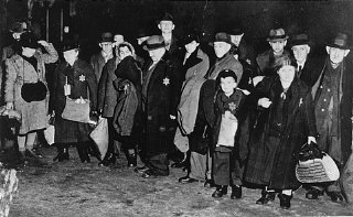 Jews in the town of Coesfeld, in northwestern Germany, assembled for deportation to the Riga ghetto.