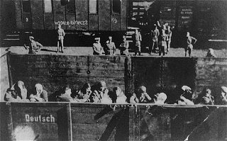 Deportation of Jewish women from the Warsaw ghetto.