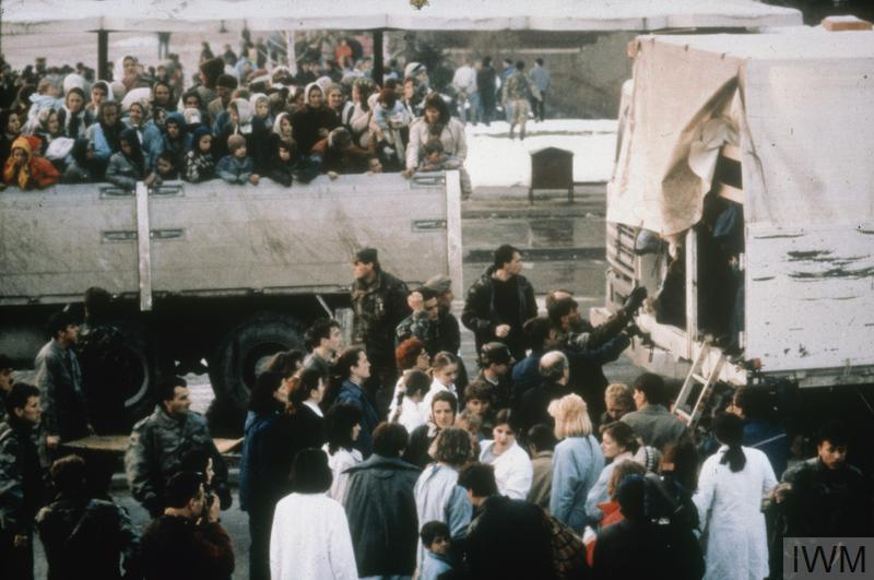 Refugees Arrive in Tuzla during the Bosnian Civil War