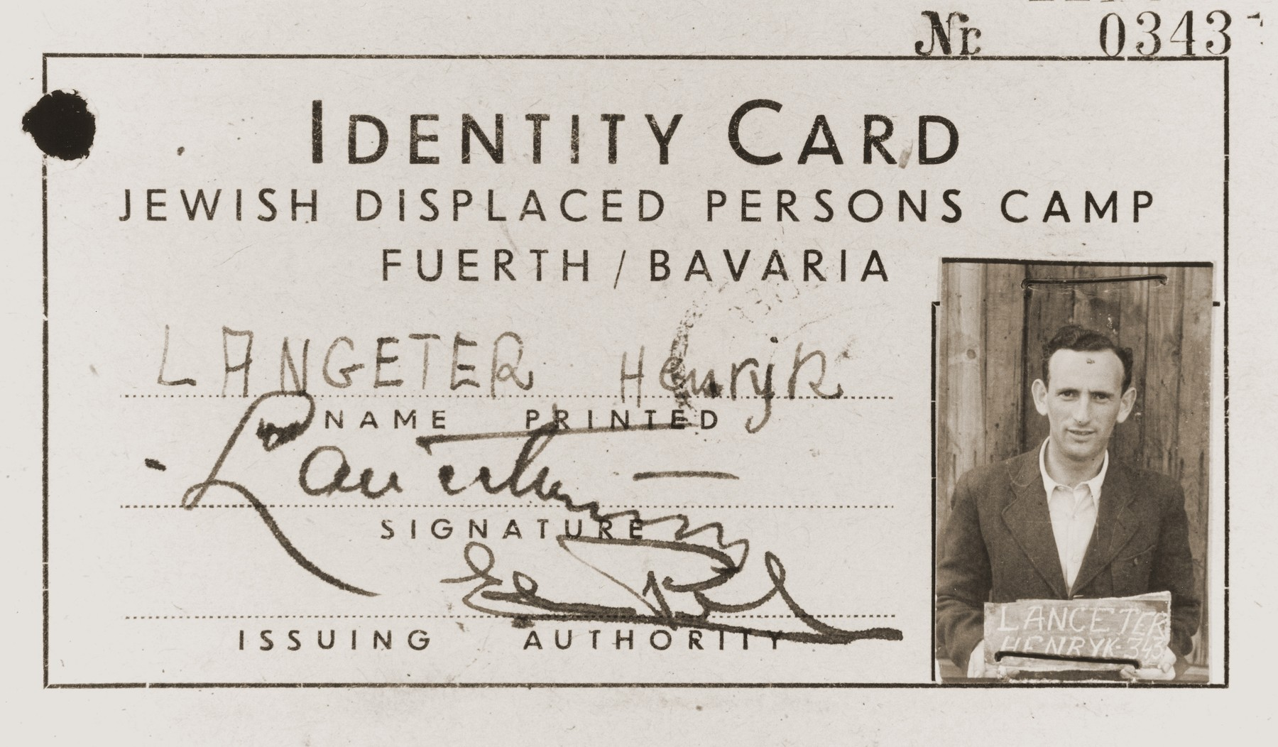 Fürth Displaced Persons Camp Identity Card