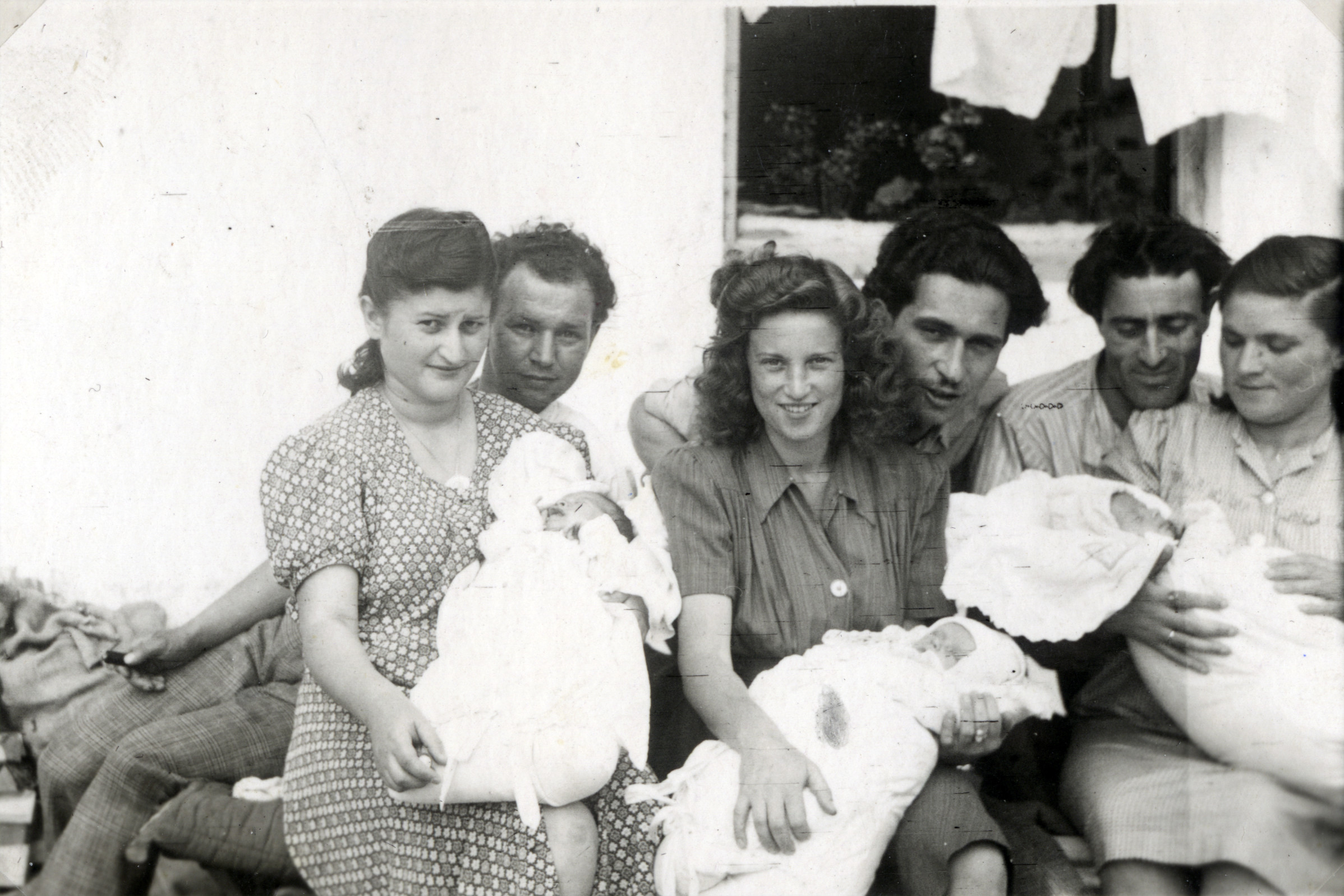 Couples with their new babies in the Gabersee DP camp