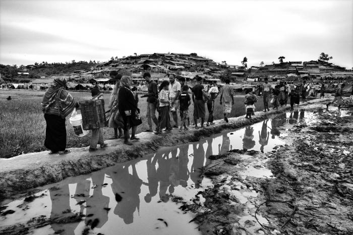 Rohingya in a refugee camp