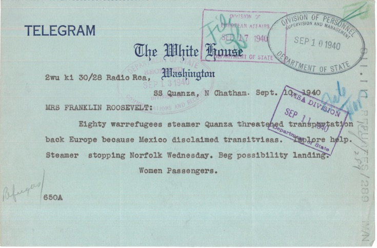 Telegram from Quanza Passengers to Eleanor Roosevelt