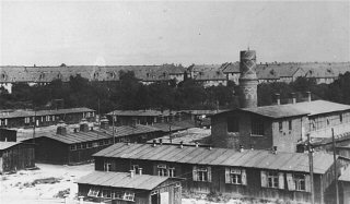 View of the Biesinitzer Grund (Goerlitz) concentration camp, a subcamp of Gross-Rosen, after liberation.