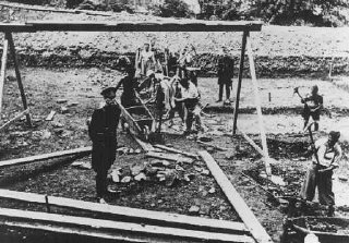 Jewish inmates at forced labor in the Vyhne concentration camp.