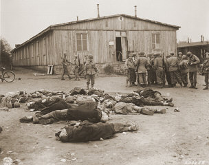 US soldiers view the bodies of prisoners in Ohrdruf