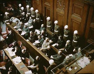 View of the defendants in the dock at the International Military Tribunal trial of war criminals at Nuremberg.